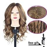 "20""-22"" Training Head 100% Human Hair Cosmetology Hairdressing Mannequin Manikin Doll Head"