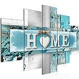 Bilder Home Herz Wandbild 150 x 100 cm Vlies - Leinwand Bild XXL Format Wandbilder Wohnzimmer Wohnung Deko Kunstdrucke Blau 5 Teilig - MADE IN GERMANY - Fertig zum Aufhängen 504553a