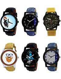 NIKOLA New Model Mahadev Beard Style Black Blue And Brown Color 6 Watch Combo (B22-B37-B42-B54-B23-B40) For Boys...