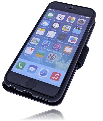 Burkley Apple iPhone 6 / iPhone 6S Hülle   Tasche   Lederhülle   Handyhülle   Ledertasche   Handytasche   Schutzhülle   Flip Cover   Book Case   bruchfester Innenschale   Kartenfach (Dunkel Braun) Schwarz-Blau