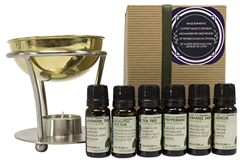 Naissance-Aromatherapy-Brass-Burner-and-6-Top-Essential-Oils-Gift-Set-with-Lavender-Tea-Tree-Lemon-Orange-Peppermint-and-Eucalyptus-Oils