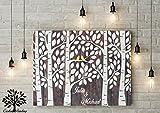 80x60 cm Gästebuch Hochzeitsbaum Wedding Tree, Alternative Gästebuch Leinwanddruck - Baum, Leinwand, Keilrahmen und Holz Motiv