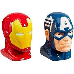 Marvel salero y pimentero: Capitán América y Iron Man, de cerámica, multicolor, 9x 8x 10cm