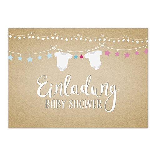 hower Party/Einladungskarten mit Umschlag im Set/Motiv: Baby Body niedlich - neutral/Babyparty Karte/Postkarte / ()