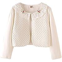 Zhuannian Girls' Long Sleeve Eyelet Bolero Crop Shrug Beaded Flower Collar (5-6yrs, White)