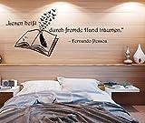 """Wandtattoo Schlafzimmer Wohnzimmer Spruch """"Lesen heißt, durch fremde Hand träumen"""""""