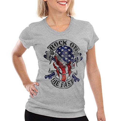 style3 USA Rocker Skull Damen T-Shirt Biker US Flagge Totenkopf Grau Meliert