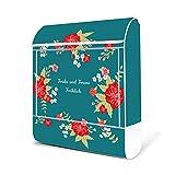 BANJADO Design Briefkasten weiß|38x47x13cm groß mit Zeitungsfach|Stahl pulverbeschichtet|Wandbriefkasten mit Motiv WT Landhaus Romantik mit weißem Standfuß