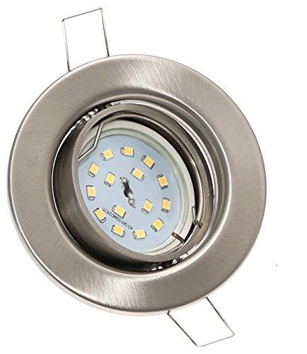 4er Set FLACHE Einbaurahmen Spot » LED Einbauleuchte Alva/230V/5W/400 Lumen/LochausschnittØ=63-75mm/Aussendurchmesser=83mm/Einbautiefe=30mm/Farbe=edelstahl geb./Licht=LED-Warmweiß (Moderne Rost 4 Licht)