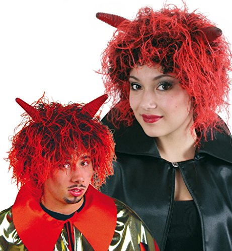 Perrücke Diabolo Teufelsperrücke mit Hörnern Vampir Teufel Zombie rot schwarz blut wild kurz (Perücke Teufel Kurz Hörnern Mit)