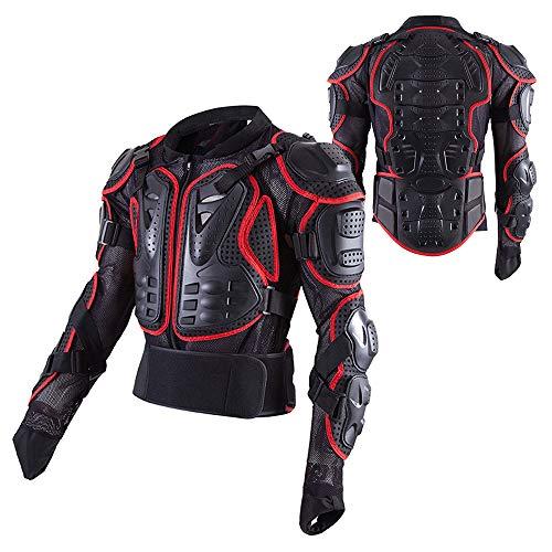 PKFG® Motorrad Schutz Jacke Herren, AM-01 Motocross Motorradjacke mit Rücken und Brustschutz Fallschutz Schutzjacke für Motorrad ATV Mountain Radfahren Scooter MTB Protektorenjacke