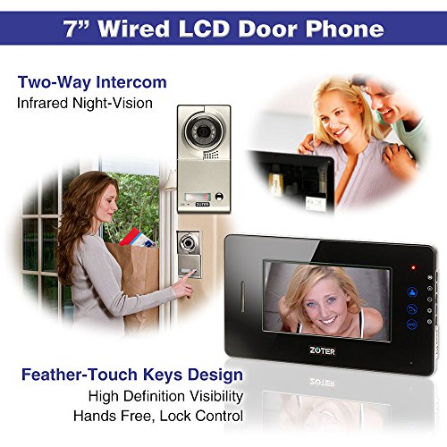 "Generic 7"" inch Color LCD Video Door Phone Doorbell Home Entry Intercom System 1 Monitor 1 Metal Camera Night Vision for 1 Family 705 (Black)"