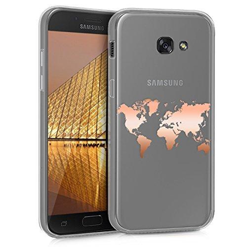 kwmobile Funda para Samsung Galaxy A5 (2017) - Carcasa Protectora de [TPU] con diseño de Mapa del Mundo en [Oro Rosa/Transparente]