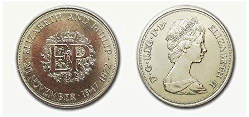 Sammler Münzen - Queen Elizabeth und Prinz Philip 1947 - 1972 Silberhoch Krone -