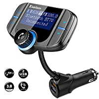 [Upgraded Version] Bluetooth FM Transmitter, Esolom Wireless Car Radio Adapter, Hands-free Talking Car Kit with AUX Port, QC 3.0 and Smart 2.4A Dual USB Ports, 1.7 Inches Screen Supports Display Car Battery Voltage, Song Names and Phone Number, Support TF