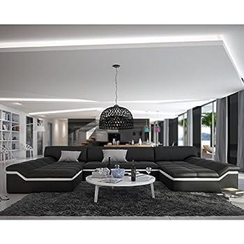 Designer couch leder  Wohnlandschaft weiß-schwarz in Leder-Optik: Edle Designer Couch ...