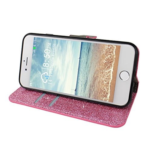 Schutzhülle iPhone 7 Leder, Book Style Hülle für iPhone 7 Bling Glitzer, iPhone 7 Bumper Hülle, [Voll frontal Dreieck Diamant Design] Moon mood® Glitter Case Skin Tasche Ledertasche für Apple iPhone 7 A Rosa