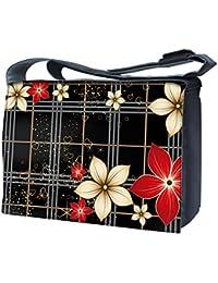 Luxburg Design sac bandoulière pour ordinateur portable 17Avec Sangle d'épaule–Petites fleurs rouge et blanc