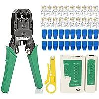 FEDUS RJ45 Crimping Tool Kit Ethernet Crimp Tool Set RJ-11 6P/RJ-12 8P/RJ-45 Crimp crimping tool, 1 Network Cable Tester…