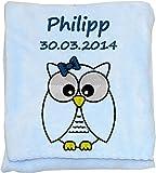 Wolimbo Flausch Babydecke mit Ihrem Wunsch-Namen und Eulen Motiv - personalisierte / individuelle Geschenke für Babys und Kinder zur Geburt, Taufe und Geburtstag - Farbe: hellblau - 80x90 cm für Mädchen und Jungen