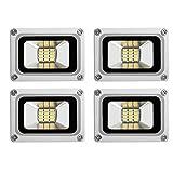 4Pcs 10W LED Flood Light Cool White 6000K-6500K IP65 Outdoors Security Wall Lamp 12V 950-990LM Außenstrahler für Korridor, Balkon, Pfad (4)