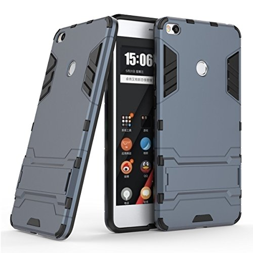 Funda para Xiaomi Mi Max 2 (6,44 Pulgadas) 2 en 1 Híbrida Rugged Armor Case Choque Absorción Protección Dual Layer Bumper Carcasa con pata de Cabra (Azul Negro)