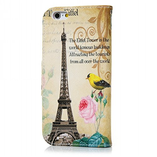 iPhone 6 / iPhone 6S Hülle, Yokata PU Leder Cover mit Weich Soft TPU Backcover Printed Kawaii Case Ultra slim Silikon Handyhülle Etui Protector Protection Cover Schutz + 1 x Kapazitive Feder - Rosa Bl Eiffelturm