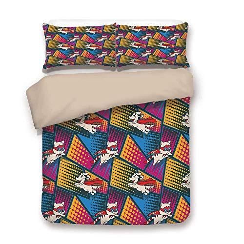 Soefipok Bettbezug-Set, Superheld, lustige Comic-Katzen und Hunde in Cape und Maske Heroisch Kostüme Fiction Fantasy Art, Multicolor, dekorativ 3 Stück Bettwäsche-Set von 2 Pillow Shams King Size