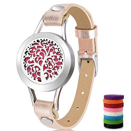 Aromatherapie Ätherische Öle Diffusor Armband mit 8Farben (Gold), jederzeit Filz Pads und Geschenkbox mit ätherischen Ölen, mit