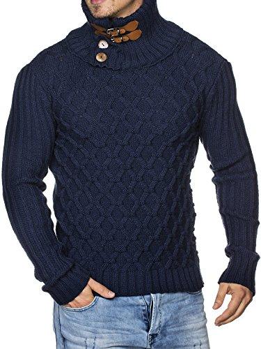 TAZZIO Herren Grobstrick-Pullover mit stylishem Steh-Kragen 16489 Darkblue