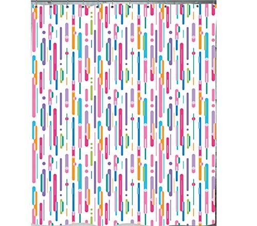 ff / Farbregen Lila Violett Grün Blau Weiß Bunt / waschbarer Textil Duschvorhang in der Größe 120 cm Breit x 200 cm Hoch für Duschvorhangstange / Gesundheitsfreundlich / Alle Seiten sind sauber umgenäht / verstärkte Ösen / Beschwerungsband - Bleiband im unteren Saum / Wannenvorhang Badewanne Vorhang Braun Weiß inkl. Ringe / ()