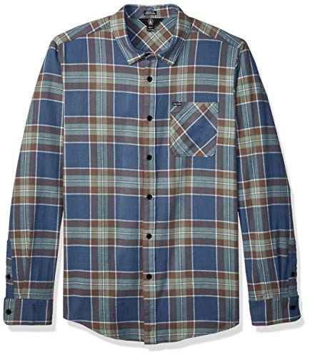 Volcom Herren Caden Plaid L/S Hemd, Indigo, L - Woven Long Sleeve Button