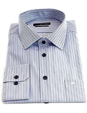 Seidensticker Herren Langarm Hemd Splendesto Regular Fit French Kent blau / weiß gestreift 188560.14