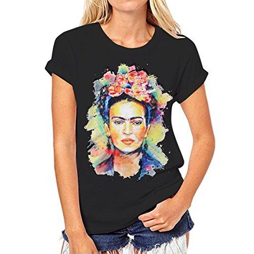 Camiseta para Mujer de Manga Corta Artista Mexicana Frida Kahlo Personalizada (Color : Black, Size : M)