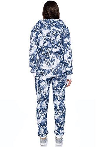 Crazy Age Jumpsuit Zickzack Kuschelig warm Overall Weihnachtlich Blau-AZ