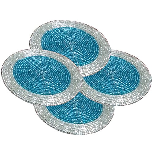 Prisha India Craft ® Set of 4 Handmade 4.2 Inches Multicolor Beaded Drink Coasters - Placemats for Tea cups - Set of Drink Coaster absorbent - Diwali Gift with WOODEN KEYRING  available at amazon for Rs.180