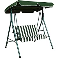 COSTWAY 2 Seater Swing Chair, Swinging Hammock W/Canopy, Cushioned Bench Lounger Bed Seat for Outdoor Garden Porch Backyard Lawn(Green)