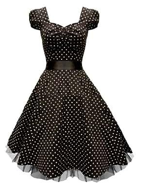 Rockabilly kleid petticoat kleid Neckholder kleid Abendkleid Cocktail Kleid Abiballkleid Brautjungfernkleid Schwarz GR.34 36 38 40 42 44 46 48 50
