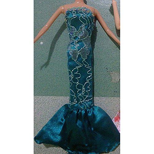 Zantec Art und Weise elegante Abend Partei trägerlose Meerjungfrau Kleider fuer Barbies Puppe