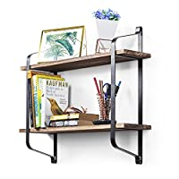 Floating Shelves- Love-KANKEI Decorative 2 Tier Wall Shelves in Retro Style - Storage Display Shelf with Iron Bracket and Wood