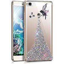Huawei P8caso, Huawei P8Funda, ikasus Crystal Clear Bling Glitter Sparkle ángel niña Star Ultra Slim Flexible Suave de Silicona marco TPU parachoques de goma protectora funda para Huawei P8 Angel:Silver