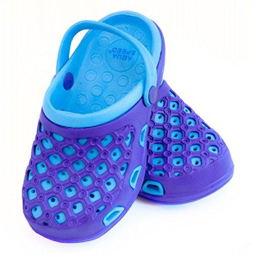 AQUA SPEED® ITAKA Badepantoletten Clogs Schwimmbad Strand Swimmingpool Fixierschlaufe Ventilationslöcher 2 Farbmodelle Pink Blau Farbe 10 / Lila