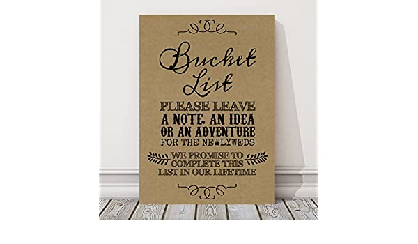 Poster Rustic Bucket List Wedding Sign A3, White CH3
