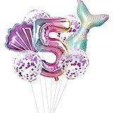 Haosell Globo de sirena grande para 5 años, decoración de cumpleaños infantil, multicolor, 1 globo de sirena XXL + número 5 n