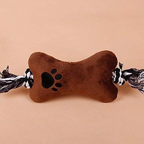 WSS Sonidos del animal doméstico perro de juguete peluche almohada con cuerda pequeños colmillos grandes en el modelado del hueso no hace daño a los dientes . brown