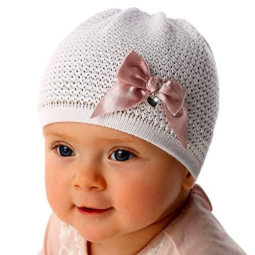 EU Ware Marika Baby Mädchen Mütze Strickmütze Sommermütze Festlich Taufe Schleife Baumwolle weiß Größe one Size