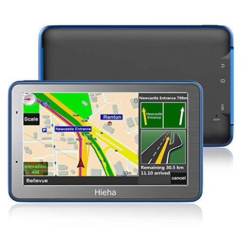 5 GPS Voiture Auto Moto 8GB, Hieha Appareil de Navigation Ecran Tactile, Instructions Vocales, Système de Navigation avec Multi-Languages (Cartographie d'europe Mode à Vie)