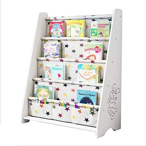 Rack NAN Liang Kinder Sling Bücherregal, 4 Tier Stoff Buch Regale für Schulbedarf Schreibwaren, Lagereinheit Kinderzimmer, Kinderzimmer, Kindergarten, Ahorn-Finish Regale (Farbe : Weiß) -