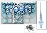 100 Weihnachtskugel Eisblau Blau mit Spitze und 100 Metallhaken Christbaumschmuck Kugel (Eisblau)