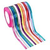 Feelava Satinband Schleifenband 12 Rolle 22.8m x 6mm Breite Assortiert Feste Farben Seidenbänder Stoffband Satin Ribbon Geschenkband Weihnachtsband Dekoband für Geschenkverpackung